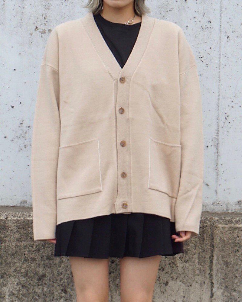オーバーサイズ&ストリート『Re:one Online Store』【And More】Basic beige cardigan-BEIGE-