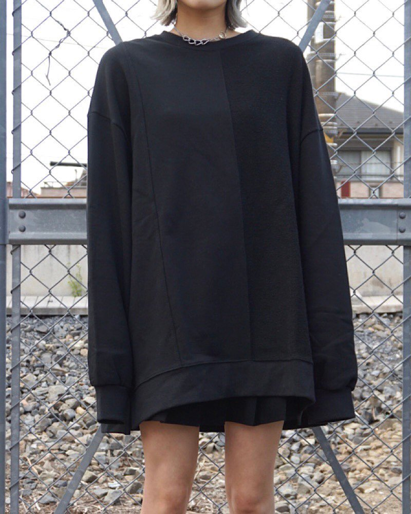 オーバーサイズ&ストリート『Re:one Online Store』「EDDEN」PILE SWITCHIG  BLACK BIG SWEAT