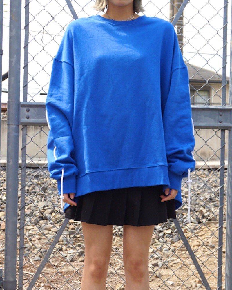 オーバーサイズ&ストリート『Re:one Online Store』「EDDEN」SLEEVES STRING  BLUE SWEAT