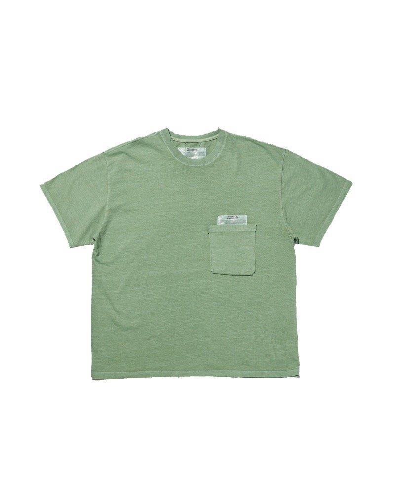 オーバーサイズ&ストリート『Re:one Online Store』「OVERR」PIGMENT POCKET GREEN T-SHIRTS