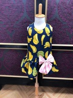 【50%OFF】キッズワンピース XS(80cm) バナナ  ネイビー リボン