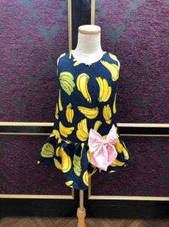 【50%OFF】キッズワンピース M(100cm) バナナ ネイビー リボン