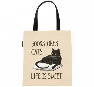 Bookstores. Cats. Life is Sweet. Tote Bag