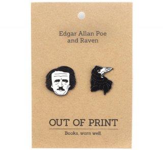 Edgar Allan Poe and Raven Enamel Pin Set