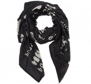 Library Stamp Lightweight Scarf (Black)