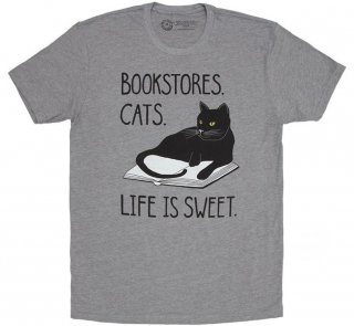 Bookstores. Cats. Life is Sweet. Tee (Heather Grey)