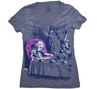 Lewis Carroll / Alice's Adventures in Wonderland V-Neck Tee (Heather Grey) (Womens)
