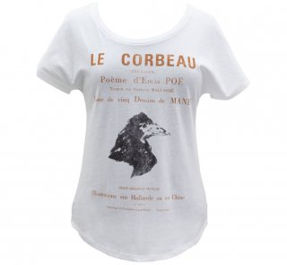 Edgar Allan Poe / Le Corbeau Relaxed Fit Tee (White) (Womens)