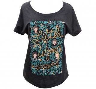 Louisa May Alcott / Little Women Relaxed Fit Tee [Puffin in Bloom] (Vintage Black) (Womens)