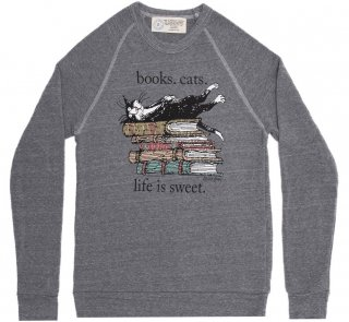 Books. Cats. Life Is Sweet. Sweatshirt (Grey) (Edward Gorey illustration)