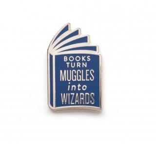 Books Turn Muggles into Wizards Enamel Pin