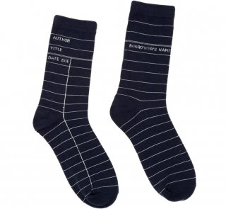 <img class='new_mark_img1' src='https://img.shop-pro.jp/img/new/icons14.gif' style='border:none;display:inline;margin:0px;padding:0px;width:auto;' />Library Card Socks (Navy Blue)
