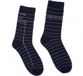 Library Card Socks (Navy Blue)