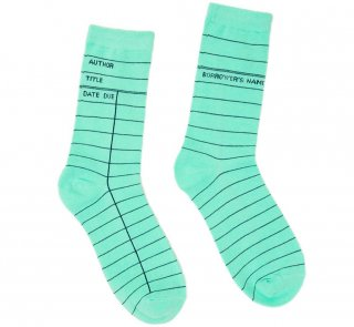 <img class='new_mark_img1' src='https://img.shop-pro.jp/img/new/icons14.gif' style='border:none;display:inline;margin:0px;padding:0px;width:auto;' />Library Card Socks (Mint Green)