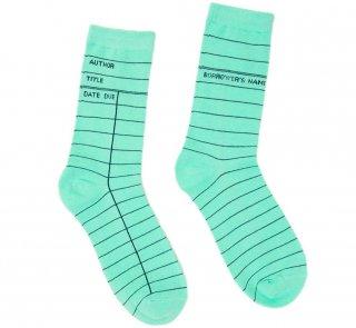 Library Card Socks (Mint Green)