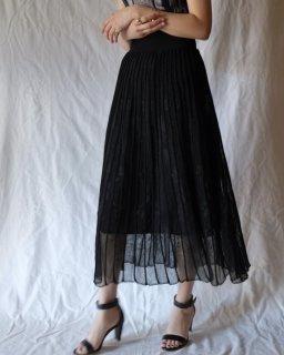 Mame Kurogouchi:Pleated Knit Flared Skirt -BLACK