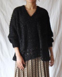 Mame Kurogouchi:Floral Mohair Knitted Pullover - black