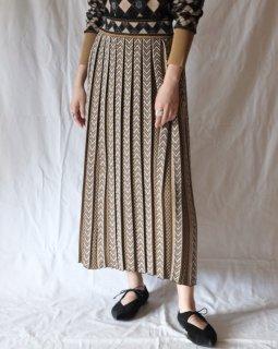 Mame Kurogouchi:Pleated Knitted Skirt - beige