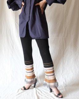 Mame Kurogouchi:Rib Jacquard Kintted Pants - black