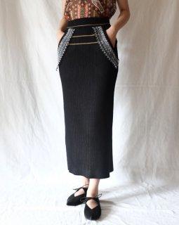 Mame Kurogouchi:Rib Jacquard Kintted Skirt - black
