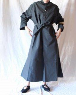 Cristaseya:Japanese Dry Cotton Maxi Shirt Dress - Forest Green