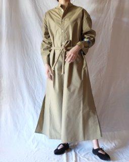 Cristaseya:Japanese Dry Cotton Maxi Shirt Dress - Beige