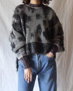 Mame Kurogouchi:Lame Jacquard Knit Pullover - grey