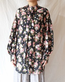 rokh:OVERSIZED BLOUSE WITH TIES - ONYXFLORAL