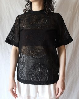 Mame Kurogouchi:Curtain Lace Jacquard Jersey Top - BLACK