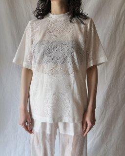 Mame Kurogouchi:Curtain Lace Jacquard Jersey Top - WHITE