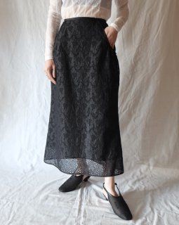 Mame Kurogouchi:Embroidery Lace Cotton Skirt - BLACK