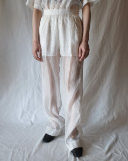 Mame Kurogouchi:Silk Nylon Floral Jacquard Sheer Trousers - WHITE
