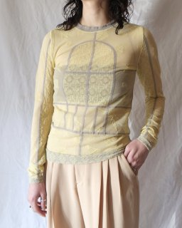 Mame Kurogouchi:Frosted Glass Graphic Knitted Top - YELLOW