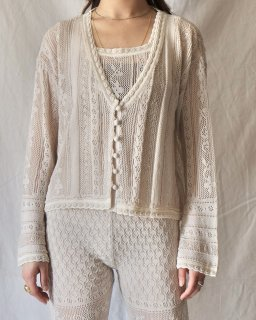 Mame Kurogouchi:Traditional Curtain Lace Knitted Cardigan - BEIGE