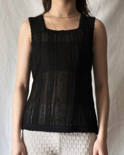 Mame Kurogouchi:Traditional Curtain Lace Knitted Top - BLACK