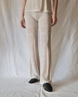 Mame Kurogouchi:Traditional Curtain Lace Knitted Trousers - BEIGE