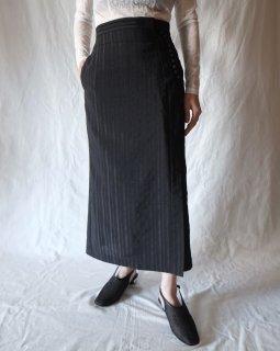 Mame Kurogouchi:Nep Stripe Front Slit Skirt - BLACK