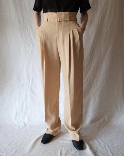 Mame Kurogouchi:Belted  Tapered Trousers - BEIGE