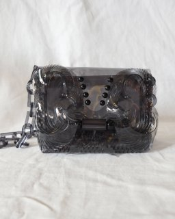 Mame Kurogouchi:Transparent Sculptural Mini Chain Bag - BLACK