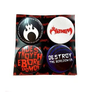 2009 DESTROY THE BOREDOM 缶バッジ4つセット(白/青/黒)