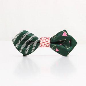 【kids】 刺繍の蝶ネクタイ 三角の連なり びろうど AGEHA tie