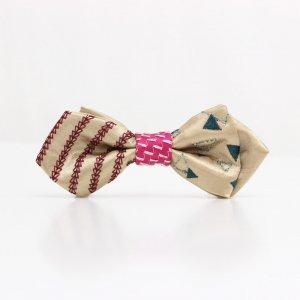【kids】 刺繍の蝶ネクタイ 三角の連なり 木蘭 AGEHA tie
