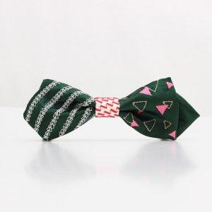 【mens】 刺繍の蝶ネクタイ 三角の連なり びろうど AGEHA tie