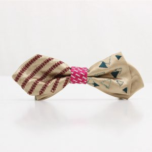 【mens】 刺繍の蝶ネクタイ 三角の連なり 木蘭 AGEHA tie