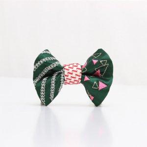 【kids】 刺繍の蝶ネクタイ 三角の連なり びろうど TATEHA tie