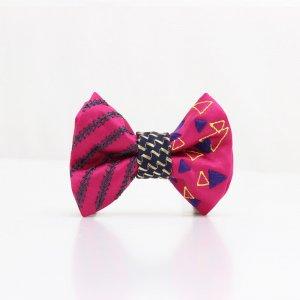 【kids】 刺繍の蝶ネクタイ 三角の連なり つつじ TATEHA tie