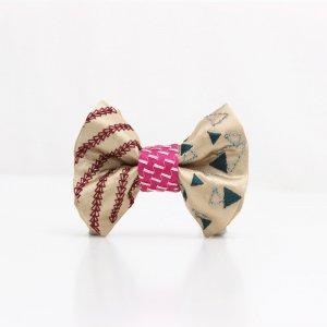 【kids】 刺繍の蝶ネクタイ 三角の連なり 木蘭 TATEHA tie
