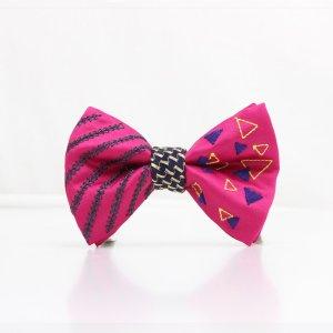 【mens】 刺繍の蝶ネクタイ 三角の連なり つつじ TATEHA tie