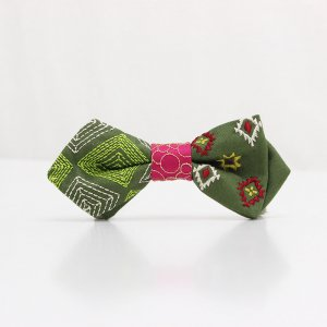 【kids】 刺繍の蝶ネクタイ ネイティブスクエア 松葉 AGEHA tie