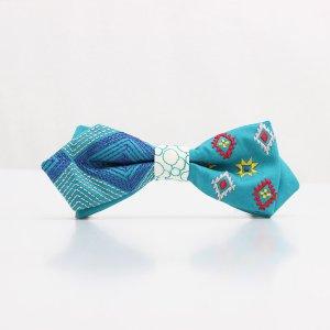 【mens】 刺繍の蝶ネクタイ ネイティブスクエア あさぎ AGEHA tie